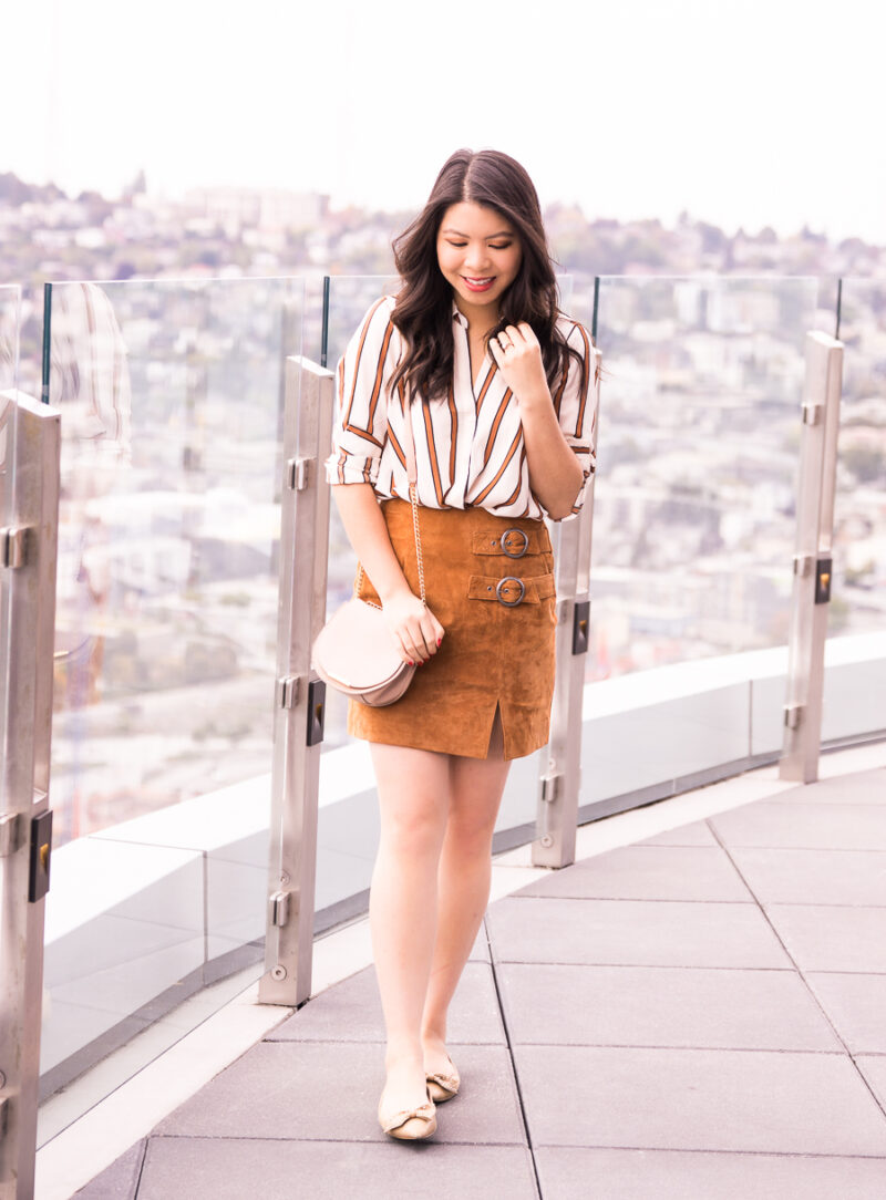Suede Skirt Fall Outfit Just A Tina Bit