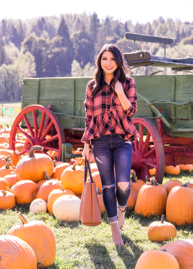 73ec2121e37 Plaid Pumpkin Patch Outfit – Our First Time At The Pumpkin Patch Together!