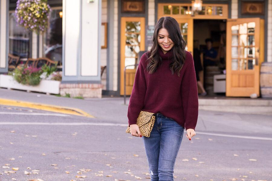 e2ea3c279e Burgundy turtleneck sweater