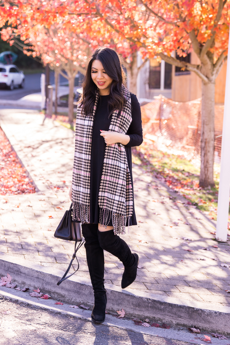 b4141b8764ae justatinabit-old-navy-swing-dress-nordstrom-bp-plaid -scarf-marc-fisher-over-the-knee-boots-fall-outfit-seattle-fashion-blog-2