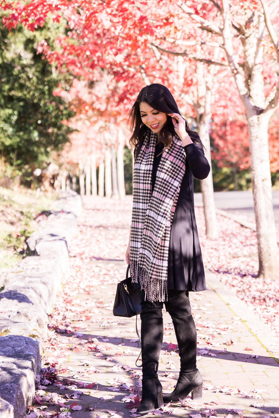 0e610ec455611 justatinabit-old-navy-swing-dress-nordstrom-bp-plaid -scarf-marc-fisher-over-the-knee-boots-fall-outfit-seattle-fashion-blog-5