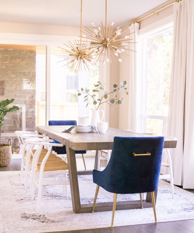 Dining Room Bar Cart Design Sputnick Lights Starburst Pendant Brass Accents Wishbone Chair