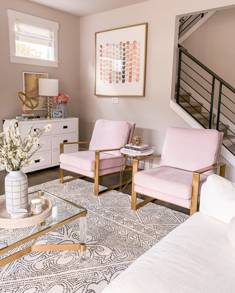Living Room Design Blush Chairs White And Gold Living Room Brass Accents Feminine Chic Decor Just A Tina Bit